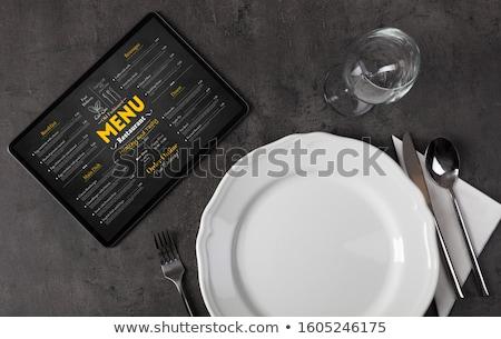 Foto stock: Vajilla · línea · menú · tableta · vacío · placa