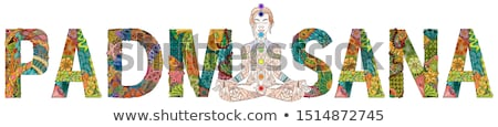 yoga woman ornate silhouette sitting in lotus pose over ornamental flower ethnic art padmasana stock photo © natalia_1947