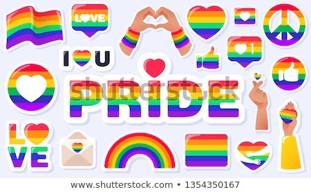Gökkuşağı kalp simge ikon eşcinsel gurur Stok fotoğraf © MarySan