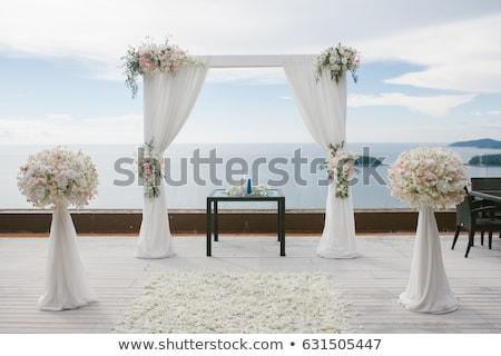 Mooie bruiloft ingesteld omhoog huwelijksceremonie tropen Stockfoto © galitskaya