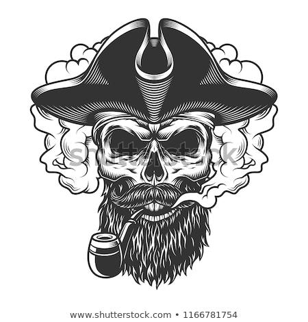 Rajz kalóz arc horgony kalap poszter Stock fotó © netkov1