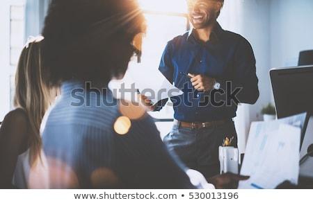 Stock fotó: üzletasszony · készít · ujjlenyomatok · tabletta · nő · kéz