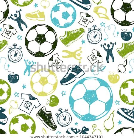 Football vector hand drawn doodles seamless pattern. Graphics background design. Stock photo © balabolka