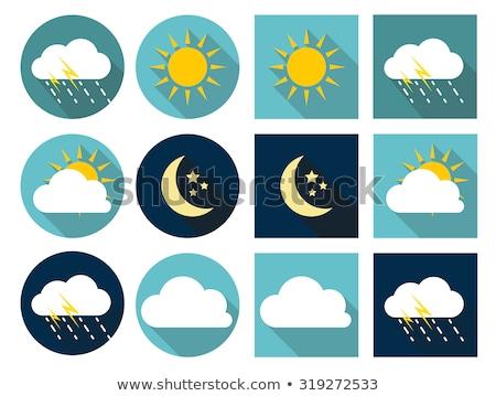 Nap felhő ikon árnyék felhő szín ikon Stock fotó © Imaagio