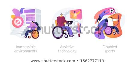 Technológia fogyatékos férfi tolószék sebesült karakter Stock fotó © RAStudio
