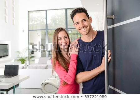 счастливым парадная дверь дома улыбка домой Сток-фото © feverpitch