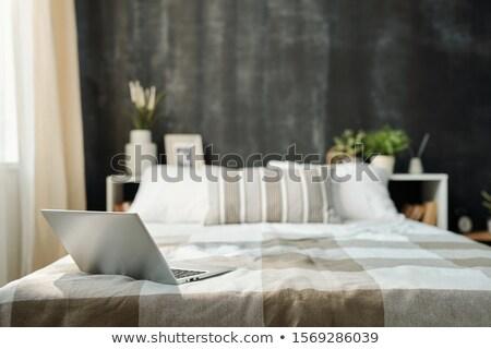 Nyitva laptop ágy vászon kockás kockás Stock fotó © pressmaster