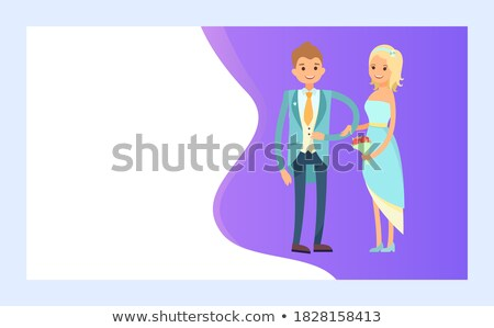 Wedding planning, Broom in Suit and Bride in Dress Stock photo © robuart