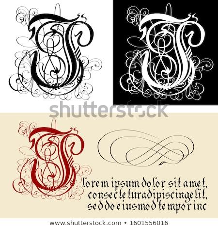 декоративный Готский письмо которое я каллиграфия вектора eps8 Сток-фото © mechanik