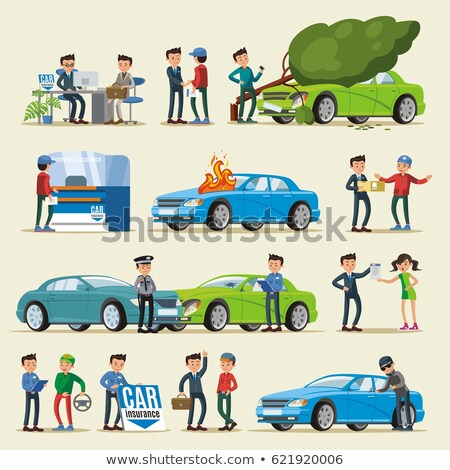 Car Theft Collection Elements Icons Set Vector Stock photo © pikepicture