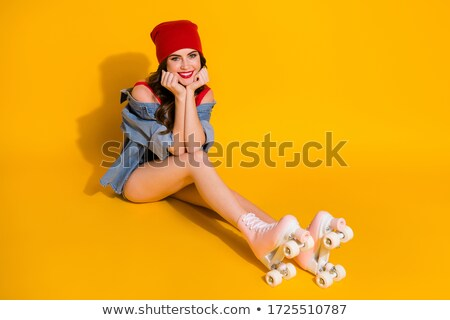 Red hair girl wearing yellow shirt and hat Stock photo © bluering
