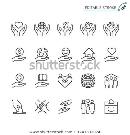 Wolontariusze wsparcia domu wektora cienki line Zdjęcia stock © pikepicture