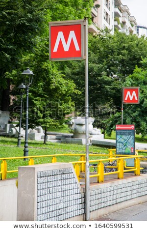 Traditional metro signs in Milan, Italy Stock photo © boggy