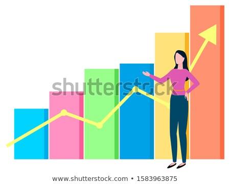 Nő bróker növekvő diagram diagram nyíl Stock fotó © robuart