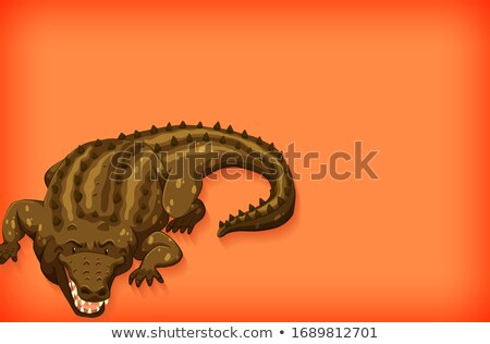 Background template design with plain color and wild crocodile Stock photo © bluering