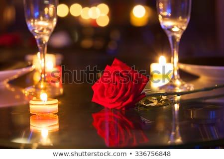 Table decorated for romantic dinner Stock photo © dashapetrenko