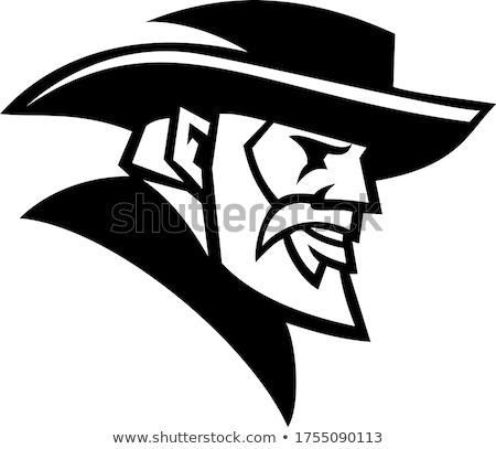 General Robert Lee Head Mascot Black and White Stock photo © patrimonio