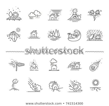 Berg Ausbruch Symbol Vektor Gliederung Illustration Stock foto © pikepicture