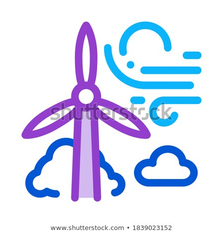 high wind energy mill icon vector outline illustration Stock photo © pikepicture