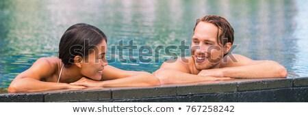 Sağlıklı yaşam spa havuz çift rahatlatıcı hidroterapi Stok fotoğraf © Maridav