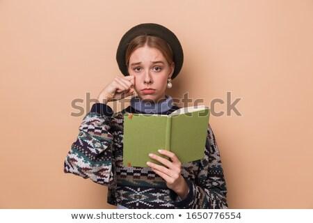 Fotografia dość nieszczęśliwy kobieta kolczyki Zdjęcia stock © deandrobot