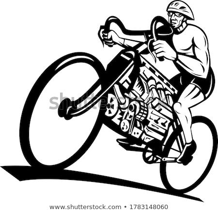 Ciclista equitação bicicleta pistão motor retro Foto stock © patrimonio