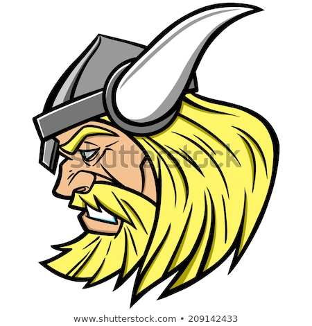 Сток-фото: Viking Mascot Vector Cartoon With Horned Helmet