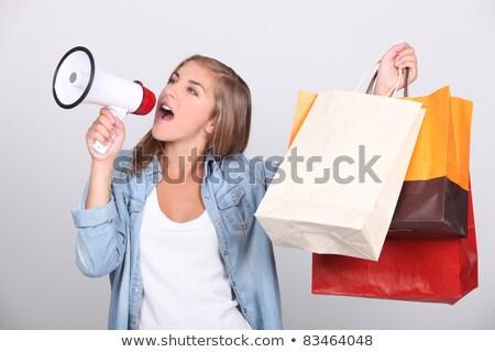 mulher · megafone · quadro · branco · feliz · notícia - foto stock © photography33