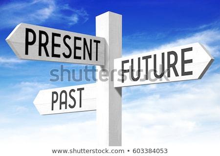 Tijd verleden aanwezig toekomst geschreven Blackboard Stockfoto © bbbar