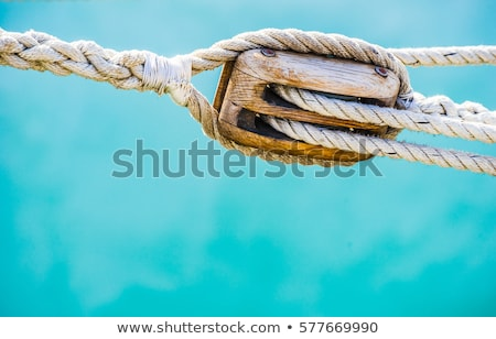 Tengerészeti kötél fából készült fehér lövés fa Stock fotó © 350jb