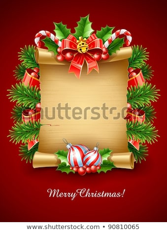 Goud christmas Rood boeg papier scroll Stockfoto © LoopAll