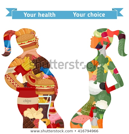 chubby woman eating on scale Stock photo © imarin