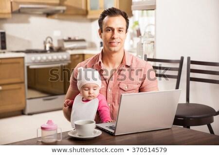 Apa néz fiatal lánygyermek víz lány Stock fotó © photography33