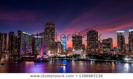 Stock fotó: Miami · sziluett · alkonyat · víz · város · építkezés