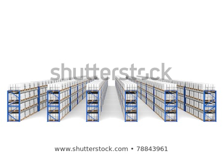 Shelves x 60. Top Perspective view, shadows. Part of a Blue Warehouse and logistics serie. Stock photo © JohanH