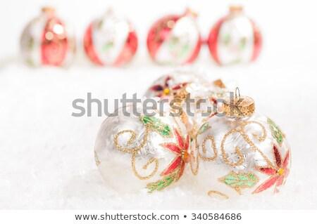 piros · zöld · színes · karácsony · hó · háttér - stock fotó © calvste