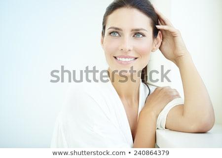 ストックフォト: 美しい · 笑みを浮かべて · 夢 · 女性 · 孤立した · 白
