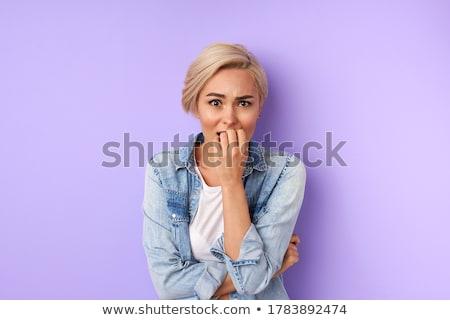 女性 · 驚いた · 若い女性 · 手 - ストックフォト © grafvision