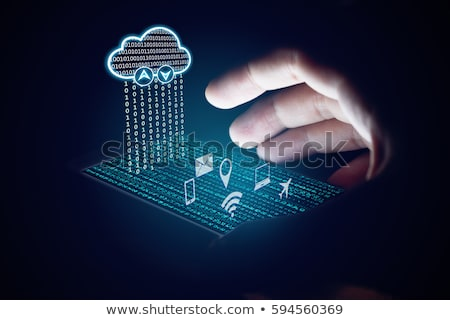 Woman holding Internet cloud Stock photo © Amosnet