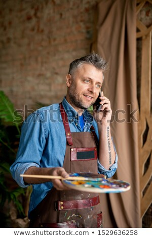 pintor · falante · cliente · casa · telefone · homem - foto stock © photography33