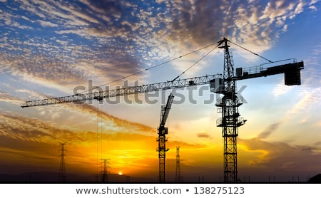 construction · grue · crépuscule · silhouettes · pont · coloré - photo stock © stevanovicigor