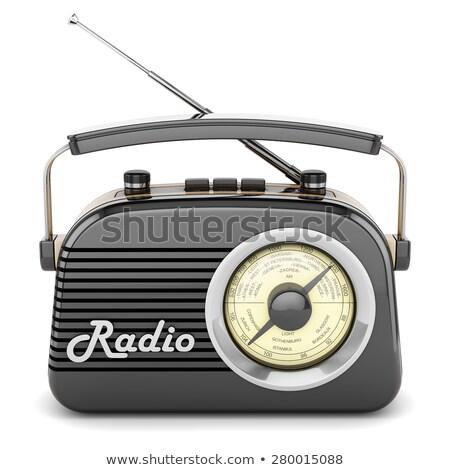 Vintage радио белый изолированный Сток-фото © HectorSnchz