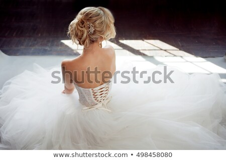 Happy beautiful bride back. Beautiful shoulders. Wedding dress stock photo © gromovataya