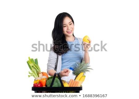 Mosolyog gyönyörű nő tart friss citrom tápláló Stock fotó © gromovataya
