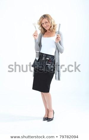парикмахер инструменты торговли женщину счастливым портрет Сток-фото © photography33