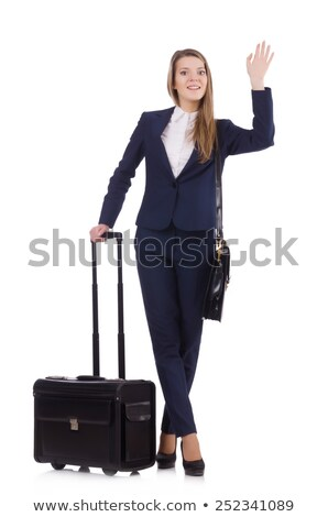happy woman with suitcase waving hand Stock photo © dolgachov