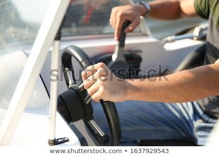 velho · volante · isolado · branco · roda · navegação - foto stock © lightsource