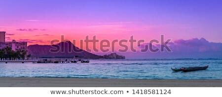 Sunrise over Diamond Head from Waikiki Hawaii Stock photo © backyardproductions