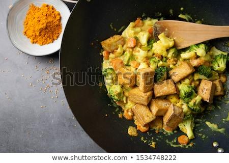 жареный Тофу морковь столовой еды диета Сток-фото © M-studio