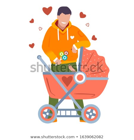 Happy father smiling with his daughter in baby carriage Stock photo © dacasdo